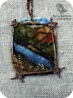 #landscape_pendant #River #Felted_pendant  #Boho_style  #Hand-made by #MarinaDyachenko_on_Etsy