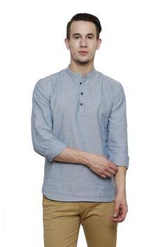 #RIGO #Sky #Blue #Chambray #Solid Slim Fit Casual #Shirt