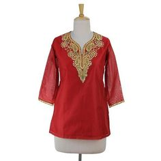 NOVICA Embellished Red Cotton and Silk Tunic with Embroidery ($80) ❤ liked on Polyvore featuring tops, tunics, clothing & accessories, red, 3/4 sleeve tunic, three quarter sleeve tops, formal sequin tops, sequin tunic and sparkly tunics