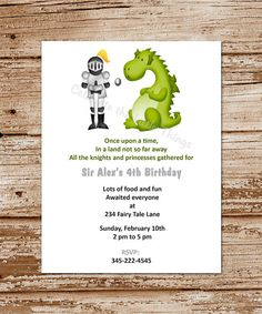 22 Best Dragon And Knight Invitations Images Knight Party Dragon