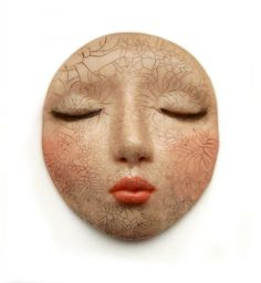 Crackled Dream Peach Lips Doll Face Cabochon by graphixoutpost on Etsy