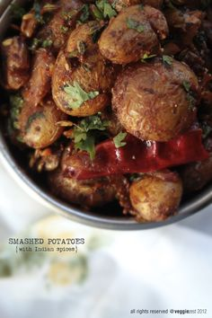 Smashed Potatoes with Indian Spices - Vegan