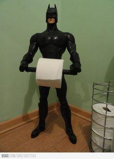 Batman Toilet Paper Holder - too Cute for a boys bathroom! Batman Bathroom, Superhero Bathroom, Boy Bathroom, Bathroom Ideas, Superhero Room, Bathroom Humor, Batman Love, Batman Robin, Batman Stuff