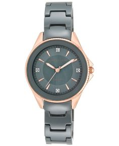 Anne Klein Women's Diamond Accent Gray Ceramic Bracelet Watch 32mm Ak/2390RGGY