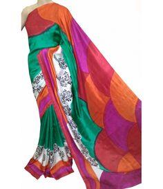 Multicolour Handloom Murshidabad Silk Batik Print Saree