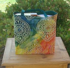 Batik Print on a MultiColored TieDye by GreenBearCreations on Etsy, $10.00