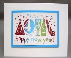 SU! New Years single stamp; Tempting Turquoise card stock; Cherry Cobbler, Tempting Turquoise and Wild Wasabi embossing powders - Anne Hayward. Great multicolor embossing!