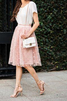 Tulle skirts, pink polka dot skirts, ballerina skirts, pink midi skirt, feminine pieces, Morning Lavender