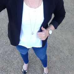 hite Country Road t-shirt. Scotch and Soda blazer. Skinny jeans from Lalt Collective, Clare. Guess two-tone ballet flats. Holiday rose gold layered necklaces. The Horse watch.
