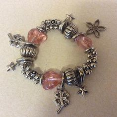 Ladies pink and silver chunky bead and charm bracelet by FUNKYSKYE