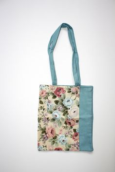 Tote bag / carry all / floral blue romantic vintage by JorRainbow