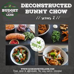 Budget Cooking with Lamb: Deconstructed bunny chow, Proudly South African — Cooking with Lamb Easy Lamb Recipes, Cooking On A Budget, Lamb Chops, Chow Chow, Recipe Collection, Sausage, Roast, Nutrition, Favorite Recipes