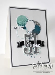 by Chantal: Number of Years, Balloon Celebration, Balloon Bouquet Punch, Large Numbers framelits - all from Stampin' Up!