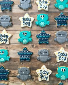 Owl baby boy shower set by Raining Cookies