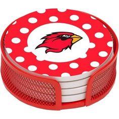 NCAA Lamar University Stoneware Drink Coaster Set with Holder Included
