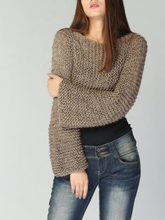 Hand knit sweater Eco cotton Mocha/Coffee cover up by MaxMelody