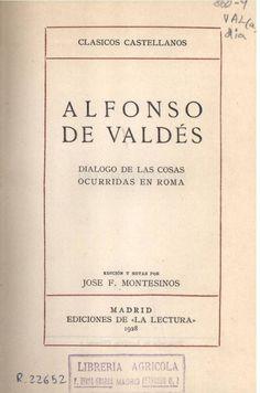 Alfonso de Valdés: Diálogo de las cosas ocurridas en Roma