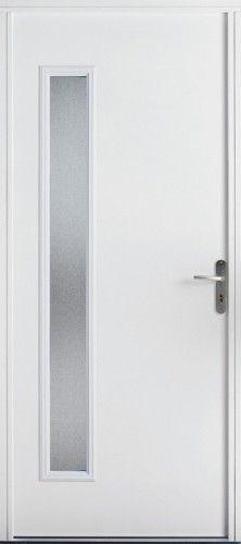 Porte acier, Porte entree, Porte servie, Poignee plaque couleur argent, Grand vitrage, Double vitrage sable, Luminosite, PSA 4