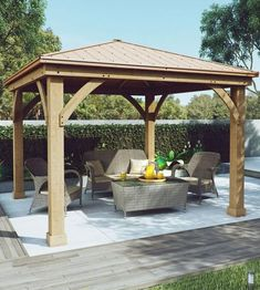 Expand your outdoor living space using the Wood Gazebo with Aluminum Roof by Yardistry. This gazebo adds character to any area, creating the perfect setting for all of your outdoor entertainment needs.