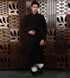 Matka by at Rohit Bal, Wedding Sherwani, Indian Ethnic, Black Silk, High Neck Dress, Menswear, Culture, Formal, Classic