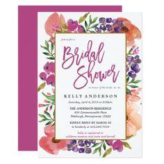 MODERN WATERCOLOR FLORAL bridal shower invitation