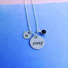 Custom stamped single name and birthstone necklace handmade