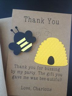 Bumble Bee Handmade Thank You Cards Custom Made for Birthday Party or Baby Shower on Kraft Paper, Set of 8 Invites on Etsy, $12.70 CAD