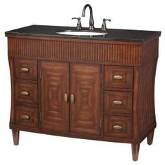 Home Decorators Collection Fuji 42 in. Vanity in Old Walnut with Granite Vanity Top in Black-1586200890 at The Home Depot