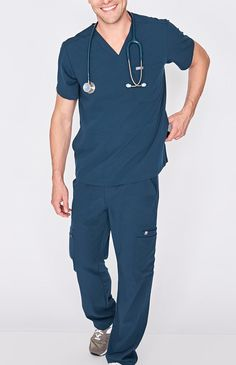 Men's performance scrub top with a modern, streamlined look with one chest pocket and two hidden side pockets.
