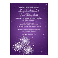 Elegant Wedding Summer Sparkle Purple Personalized Invitations