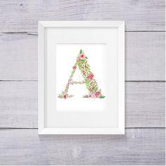 Letter A Nursery Decor, Nursery Wall Art, Floral Monogram, Printable Letters…