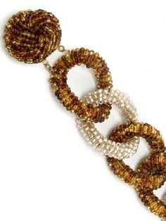 Miriam Haskell - Bracelet Gros Maillons - Perles de Verre Nacre et Mordoré