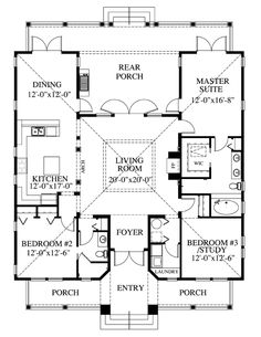 First Floor Plan of Coastal Florida Southern House Plan 73602