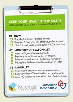 HVAC checklist ... preventative maintenance for homeowners ... #HVACmaintenance  #homemaintenance  #heatingandcooling