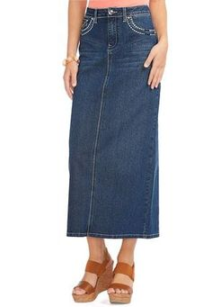 Cato Fashions Stitched Embellished Denim Skirt CatoFashions CatoSummerStyle