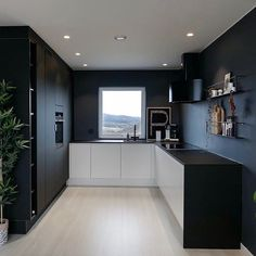 Kitchen Cabinet Interior, Kitchen Furniture, Kitchen Cabinets, Black And Grey Kitchen, Black Kitchens, Küchen Design, House Design, Aesthetic Room Decor, Stylish Kitchen