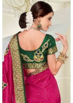 Pink silk zari & stone worked saree in dark green pallu-SR6167