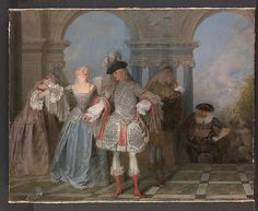 Los comediantes franceses, de Antoine Watteau Oleo sobre lienzo (57,2 X 73 cm) 1720-1721 El Jules Bache Collection, 1949