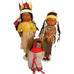 Antique Circa1916 Madame Hendren Native American Indian 4 Composition Dolls Tags -- found at www.rubylane.com #thedollworldshome