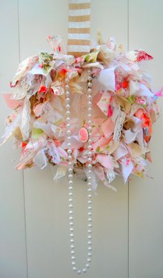 Shabby chic wreath rag wreath fabric wreath by DownSouthChicDecor, $60.00