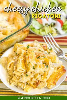 Cheesy Chicken Rigatoni - CRAZY good! The whole family cleaned their plates and went back for seconds! Such an easy weeknight casserole recipe! Can make ahead and refrigerate or freeze for later too! Chicken, rigatoni, cheese soup, evaporated milk, heavy cream, garlic mozzarella, and cream of chicken soup. SO good! I wanted to faceplant into the casserole dish!! LOL! #chicken #casserole #cheese #pasta Chicken Rigatoni, Chicken Pasta Casserole, Cheesy Chicken Pasta, Cream Of Chicken Soup, Casserole Dishes, Casserole Recipes, Creamy Chicken, Cheesy Chicken Recipes, Recipes