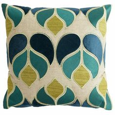 Velvet Applique Raindrops Pillow, love this pillow for the living room.  Love the teal and muted green