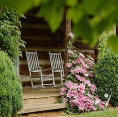 Rocking chairs and clematis make for a wonderful porch.