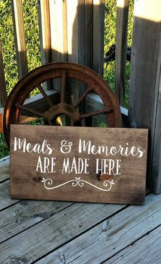 Kitchen Wall Sign - Meals and Memories Are Made Here - Housewarming Gift idea - Sign for Dining Room decor - Rustic Wooden Kitchen Decor - Wall Plaque, farmhouse sign, farmhouse decor, home decor, rustic sign, rustic decor #ad
