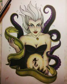 Ursula tattoo design - by jasmijn beije The little mermaid disney