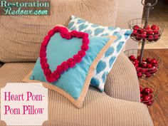 Super Easy Heart Pom Pom Pillows - Daily Dose of Style Big Pillows, Throw Pillows, Cushions, Craft Stick Crafts, Diy Crafts, Diy Pillow Covers, Christmas Pillow Covers, Mermaid Blanket, Easter Crafts For Kids