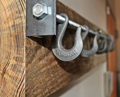 "Reclaimed Wood Industrial Coat Rack ""the Autumn"""