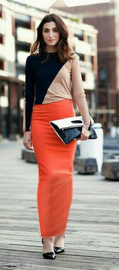 Long orange tube skirt