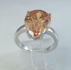 Ladies Amber Teardrop CZ Silver Ring~18K White Gold Overlay Sz 6-Free Gift Box