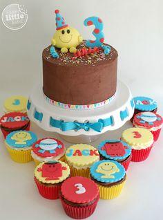 Mr Men Birthday Cake & Cupcakes. Chocolate sponge with chocolate buttercream frosting.